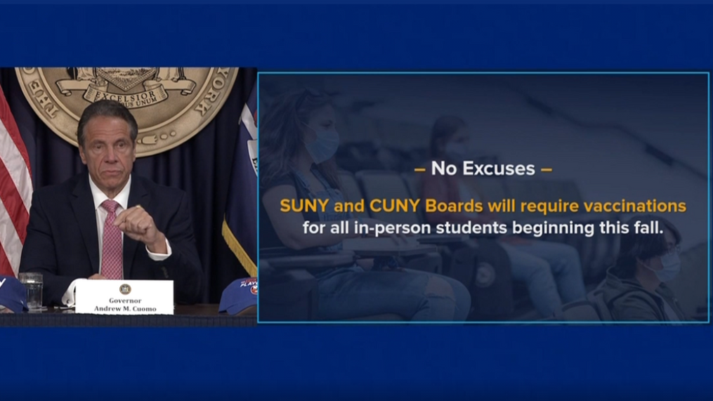 Gov. Cuomo announced SUNY/CUNY vaccination requirement for students | WRGB