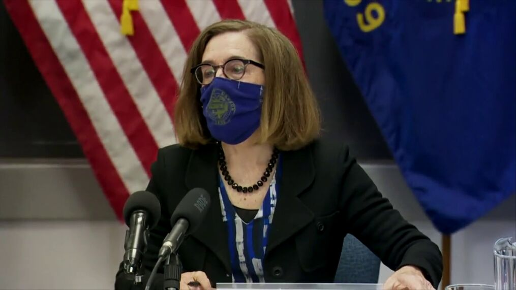 """Oregon Gov. Kate Brown is """"examining"""" whether to require that state workers get vaccinated, as the highly transmissible delta variant continues to spread across the state and COVID-19 cases spike. (SBG/File)"""