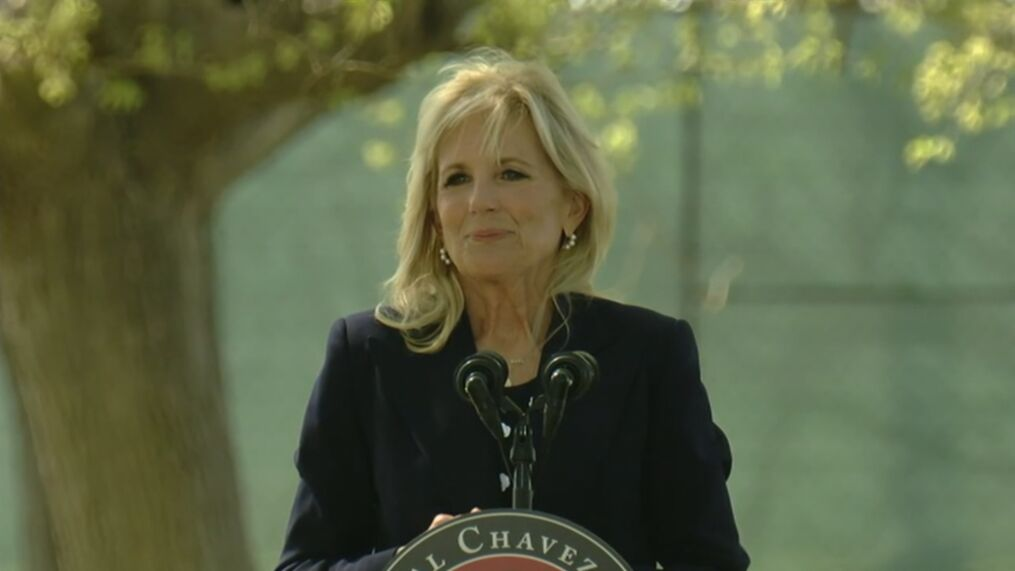 First Lady Dr. Jill Biden encouraged farmworkers to get vaccinated at the Cesar Chavez Day event in Delano, Calif. KBAK/KBFX