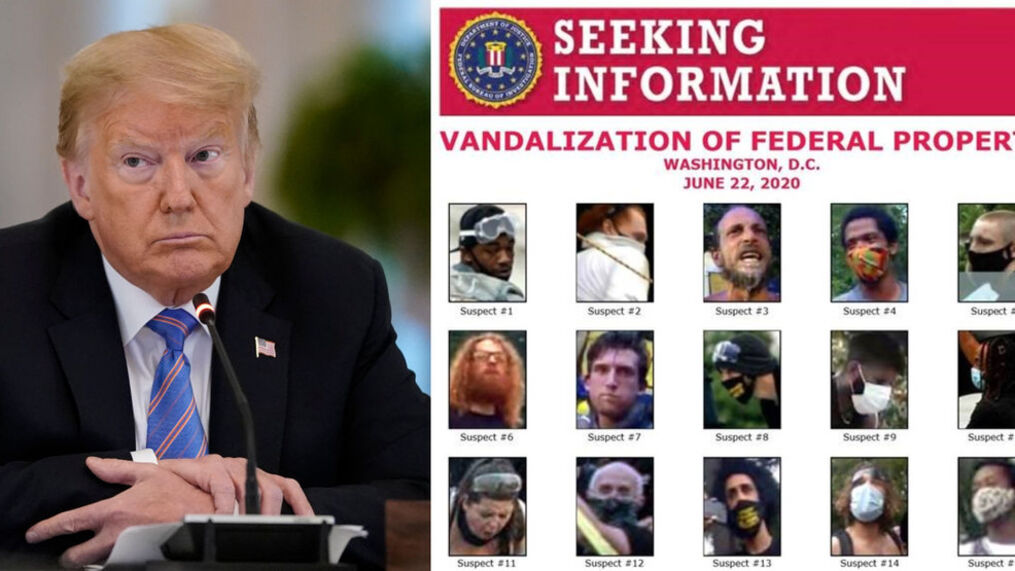 """<p>WASHINGTON, DC - JUNE 26: U.S. President Donald Trump participates in a meeting of the American Workforce Policy Advisory Board in the East Room of the White House on June 26, 2020. (Photo by Drew Angerer/Getty Images) Earlier in the day, he tweeted an FBI """"seeking information"""" poster for suspects in the attempt earlier in the week to topple an Andrew Jackson statue in Lafayette Square near the White House.{/p}"""
