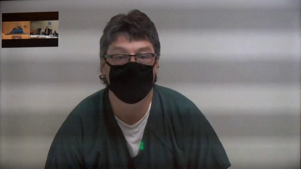 49-year-old Kenneth Ayers pictured during his first hearing in the Jackson County Court. On March 2 he was sentenced to 20 years in prison for attempted murder relating to eight different incidents of shootings along the I-5 corridor from Jackson County to Roseburg. (KTVL)