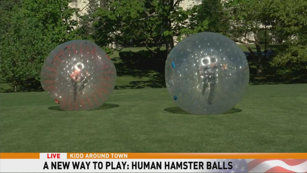 Kidd Bounces In Human Hamster And Bubble Balls At Wonderfly Games Wjla