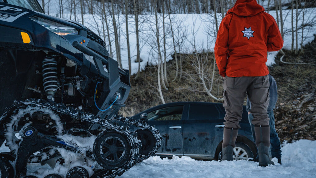 Wasatch County Search & Rescue crews rescue driver stuck on snowmobile trail on Fri., April 2, 2021. (Wasatch County Search & Rescue)