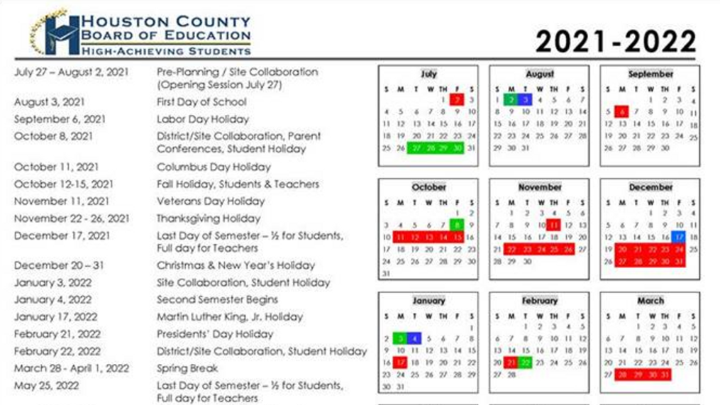 Houston County School Board approves calendar for 2021 2022 | WGXA