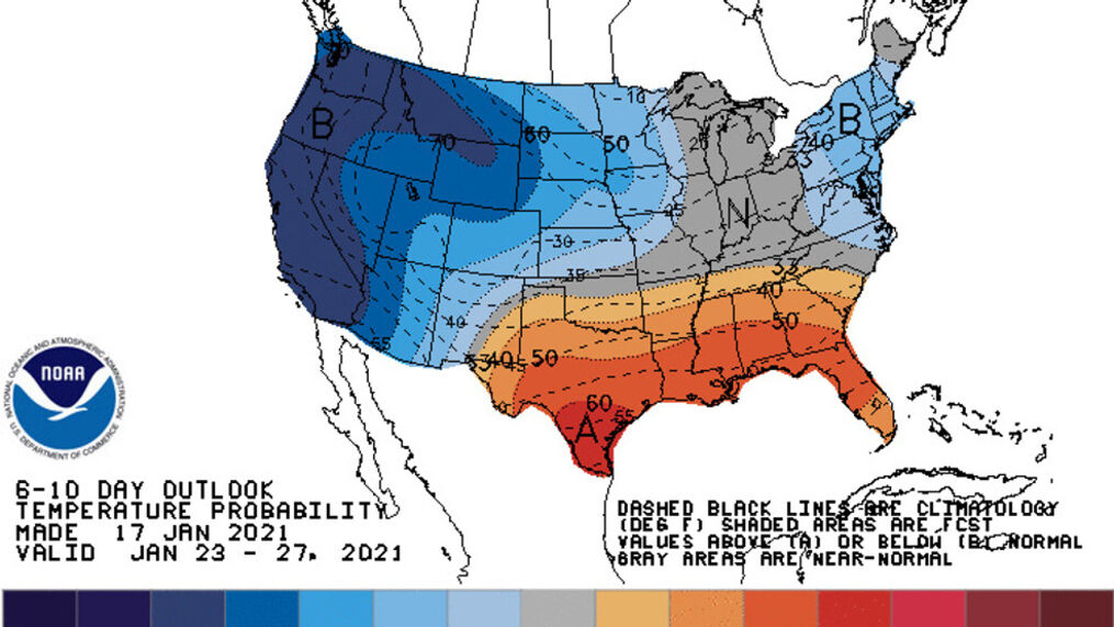 NOAA's 6-10 day outlook predicting rather high confidence of a chilly weather pattern across the West during the period of Jan. 23-27.