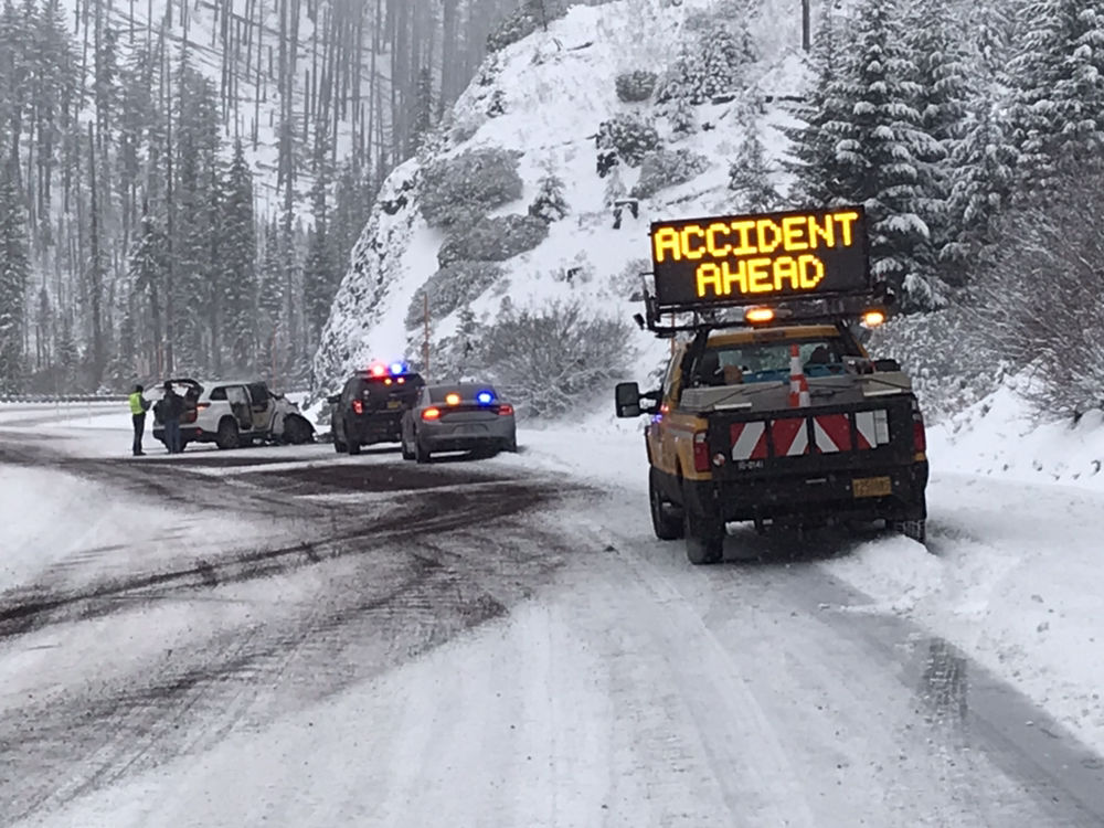 "<p>Oregon Department of Transportation shared a photo of a crash on Santiam Pass in the Oregon Cascades on Tuesday. ""We've got packed snow on the roadway,"" the agency said. (ODOT)</p>"