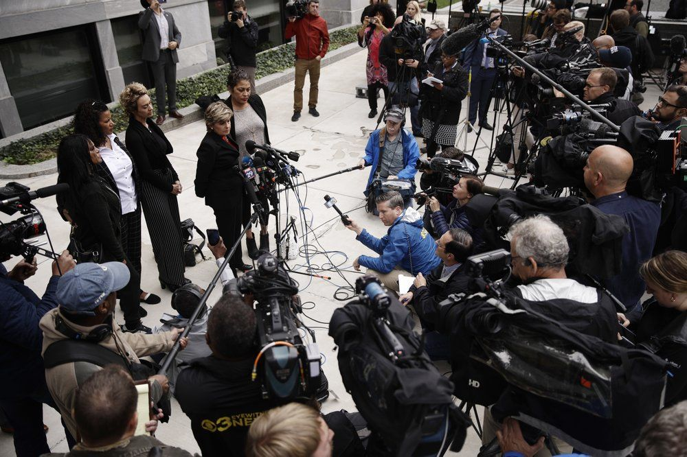 FILE-In this Monday, Sept. 24, 2018 file photo, Attorney Gloria Allred, at podium, speaks with members of the media during a recess in Bill Cosby's sentencing hearing at the Montgomery County Courthouse, in Norristown Pa. A Pennsylvania appeals court will hear arguments, Monday, Aug. 12, 2019, as Cosby appeals his sexual assault conviction. The 82-year-old Cosby is serving a three- to 10-year prison term. (AP Photo/Matt Rourke, FILE)