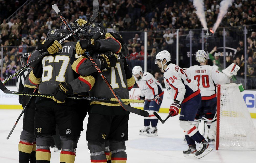 Vegas Golden Knights left wing Max Pacioretty (67) celebrates with teammates after scoring against the Washington Capitals during the second period of an NHL hockey game Monday, Feb. 17, 2020, in Las Vegas. (AP Photo/Isaac Brekken)
