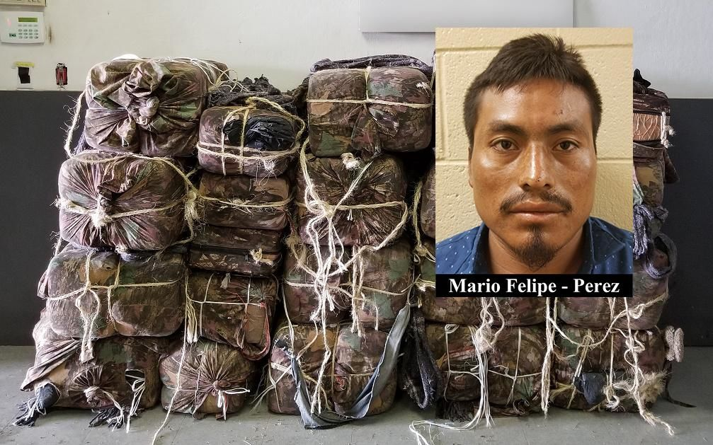CBP said that a 25-year-old Guatamalan in the group, Mario Felipe-Perez, has an active warrant in Marion County, Oregon, for burglary, domestic violence assault, and contempt of court. He was previously arrested smuggling approximately 820 pounds of marijuana across the US border from Mexico. (Source: CBP)