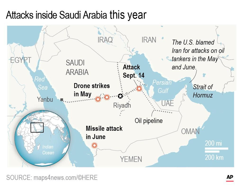 Drone attacks inside Saudi Arabia.; (AP)