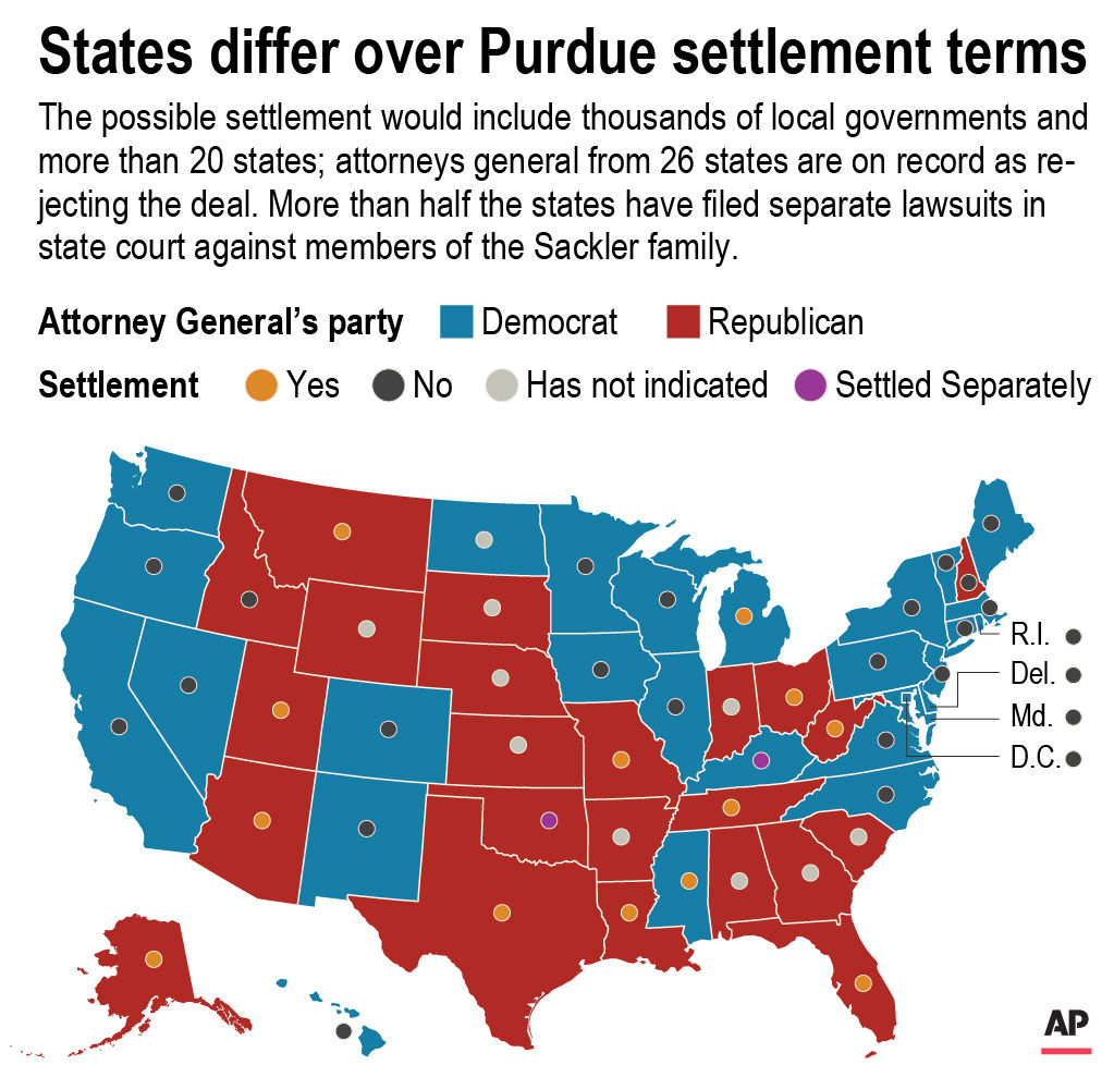 Map shows state party and decision over Purdue settlement terms; 2c x 3 inches; 96.3 mm x 76 mm; (AP)