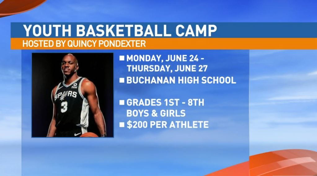 The 7th Annual Quincy Pondexter Basketball Camp will take place Monday, June 24th through Thursday, June 27th at Buchanan High School in Clovis.