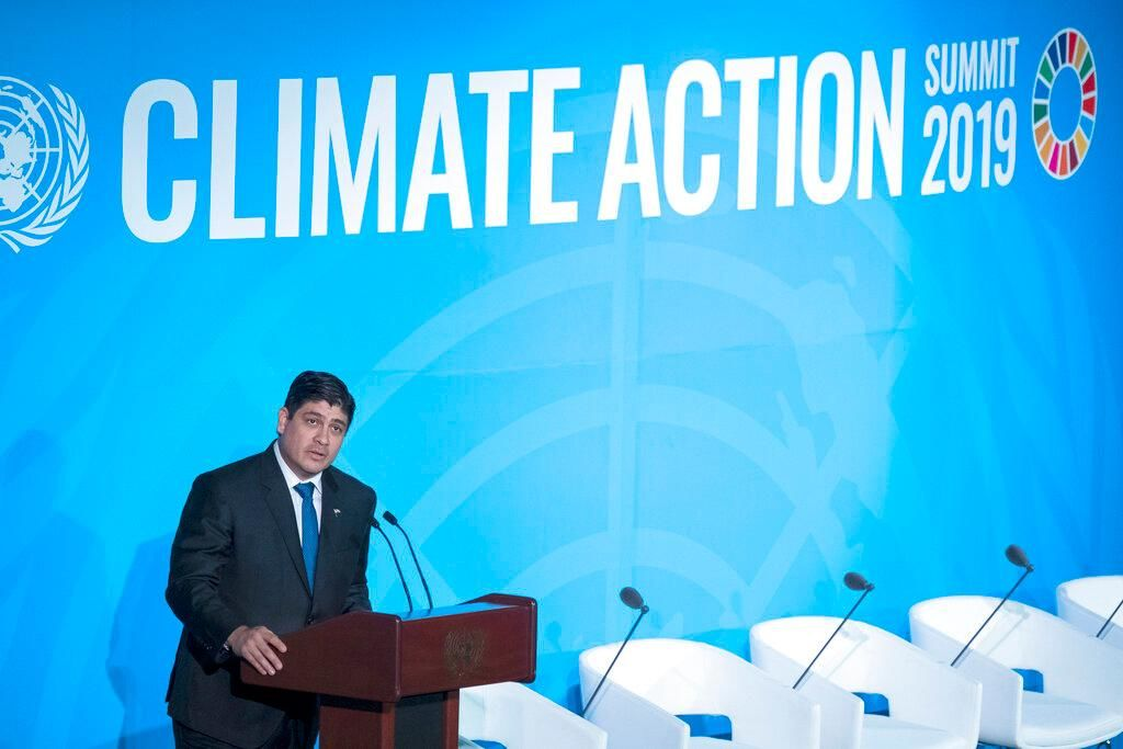 Costa Rica's President Carlos Alvarado Quesada speaks during the Climate Action Summit 2019 at the 74th session of the United Nations General Assembly, at U.N. headquarters, Monday, Sept. 23, 2019. (AP Photo/Craig Ruttle)