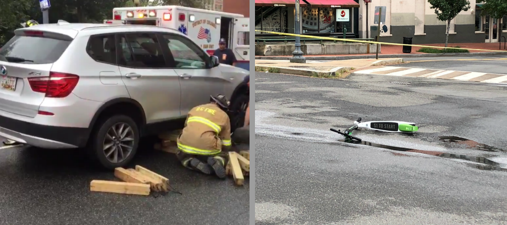 A man on a scooter was seriously injured after being hit by an SUV in Dupont Circle.{ } Friday, Sept. 21, 2018.{ } (DC Fire and EMS photo, left, and Stephen Tschida photo, right){ }