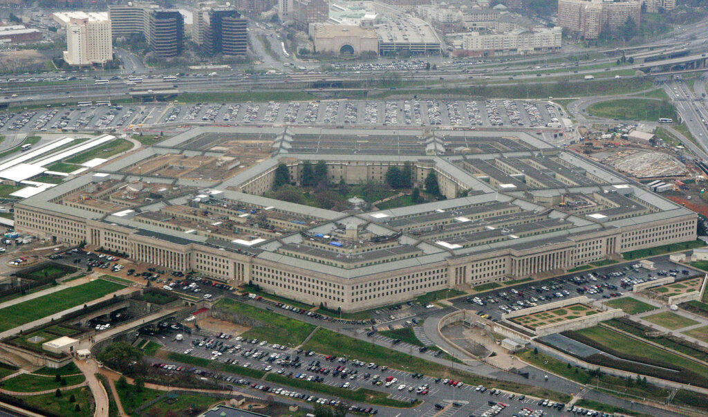 FILE - This March 27, 2008, aerial file photo, shows the Pentagon in Washington.  (AP Photo/Charles Dharapak, File)