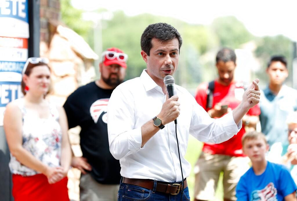 In this July 4, 2019 photo, Democratic presidential candidate South Bend Mayor Pete Buttigieg speaks at the Carroll County Democrats Fourth of July Barbecue in Carroll, Iowa.{ } (AP Photo/Charlie Neibergall)