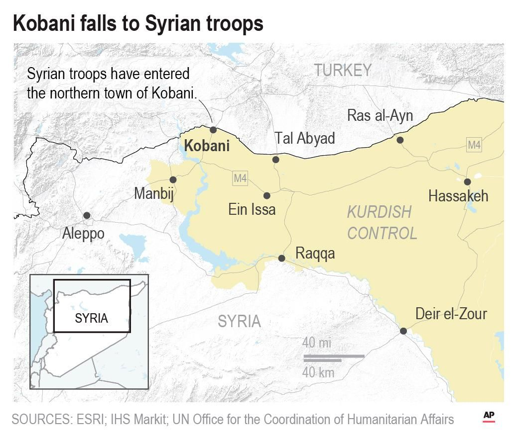 Syrian troops have entered the northern town of Kobani, where Kurdish and U.S. forces first defeated Islamic State group militants together 4 years ago. (Associated Press)