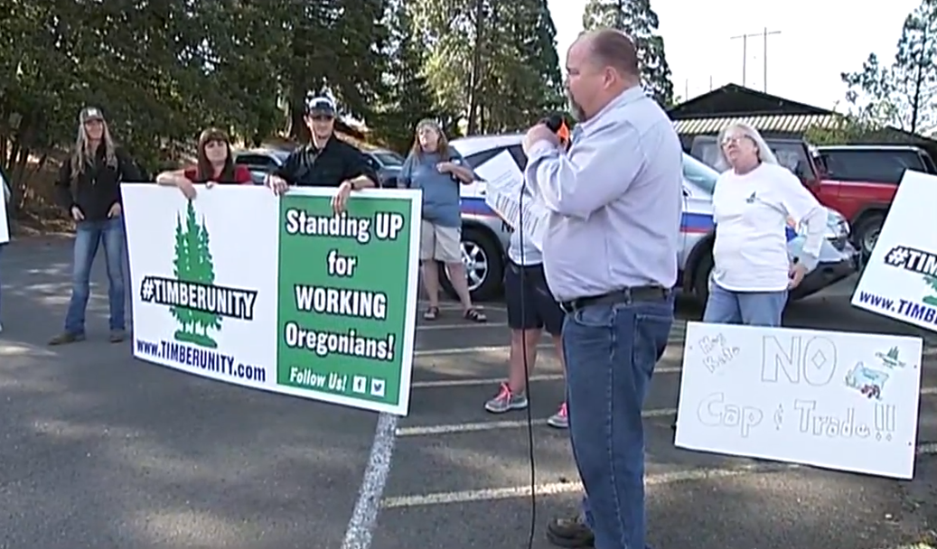 <p>Gov. Kate Brown traveled to a Swanson Group Mill in Roseburg. She was greeted by demonstrators from the group Timber Unity, who gathered outside the mill at 8 a.m. to wait for the governor. (SBG)</p>