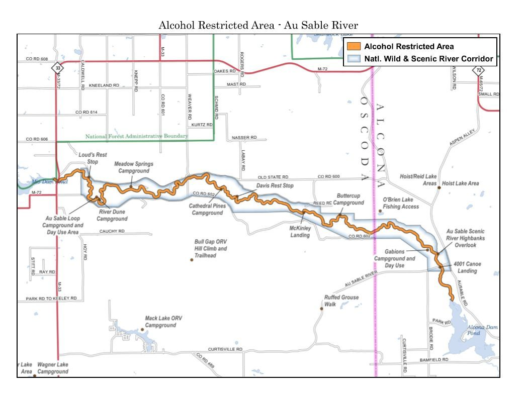 AuSable River (Map courtesy of the National Forest Service).