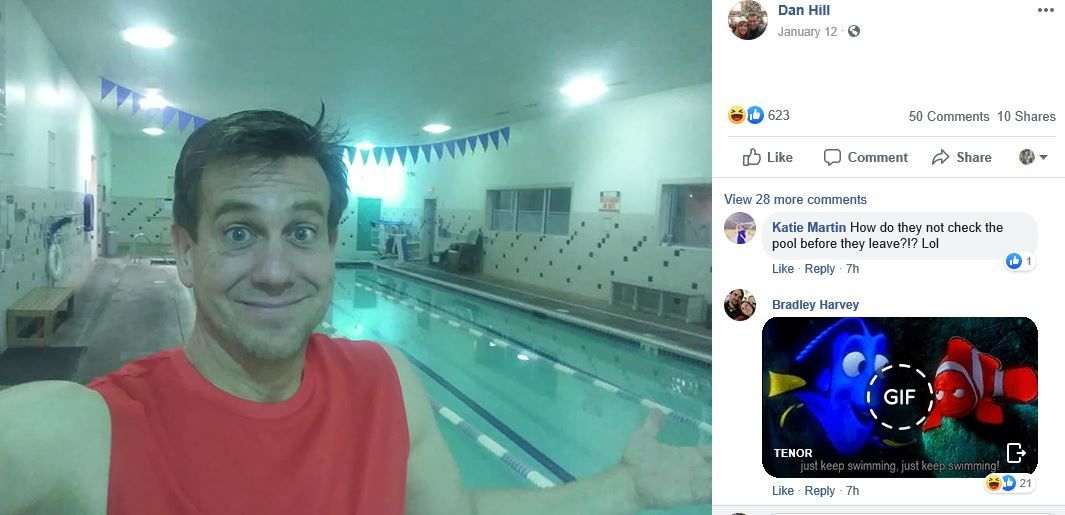 A Utah man got locked inside a place he never thought closed: 24 Hour Fitness. (Photo: screengrab from Dan Hill's Facebook page)