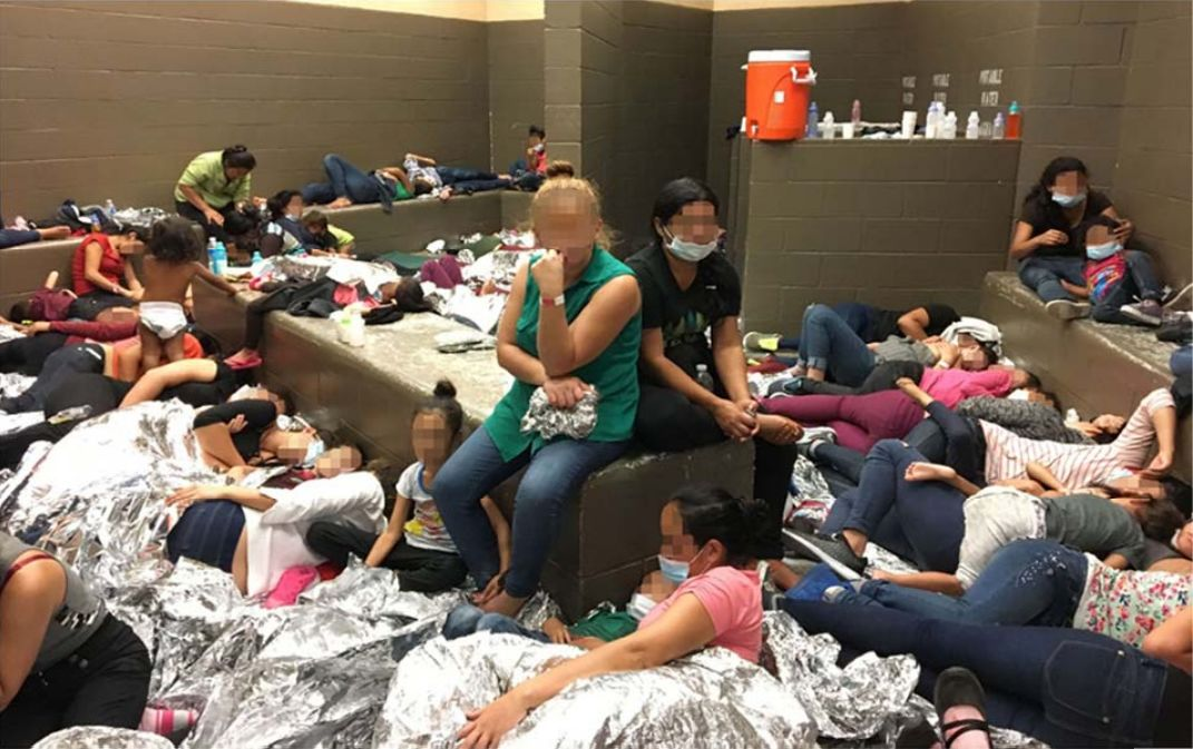 <p>Photo shows overcrowding of families observed by OIG on June 11, 2019, at Border Patrol's Weslaco, TX, Station. (Source: DHS OIG)</p>