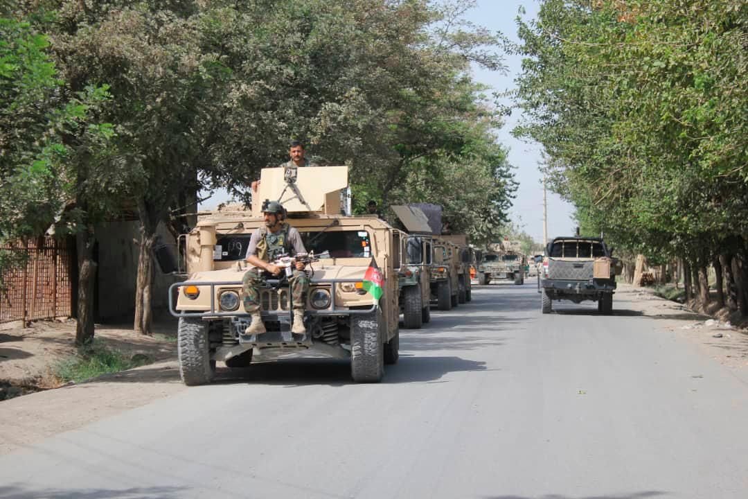 Afghan security forces arrive during a fight against Taliban fighters in Kunduz province north of Kabul, Afghanistan, Saturday, Aug. 31, 2019.{ } (AP Photo/Bashir Khan Safi)