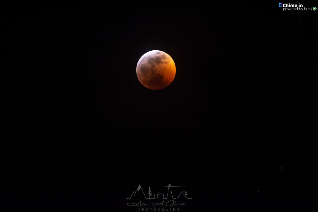 'Lunar Eclipse from Newport Oregon. The clouds cleared just in time for us to catch the total eclipse. What a sight! - Takewn in Newport, Oregon