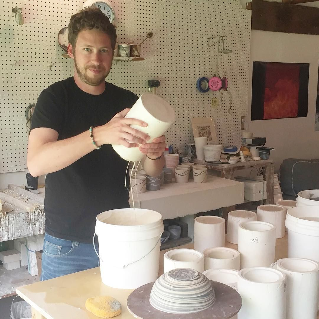 Sean Forest Roberts in his studio on Orcas Island.{ }(Photo: Forest Ceramic Co.)