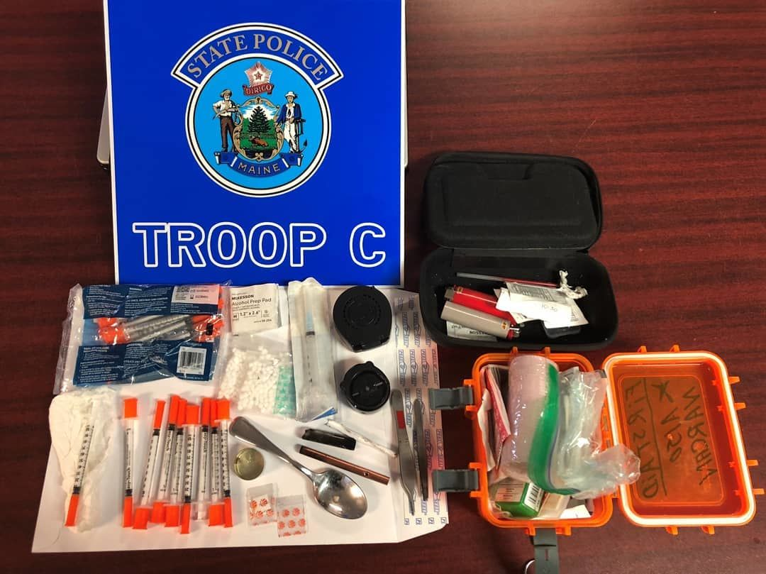 Police said they found hypodermic needles, drug paraphernalia, Suboxone, and other drug related items. (Maine State Police)