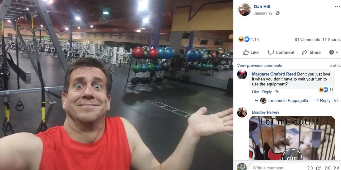 <p>A Utah man got locked inside a place he never thought closed: 24 Hour Fitness. (Photo: screengrab from Dan Hill's Facebook page)&nbsp;</p>