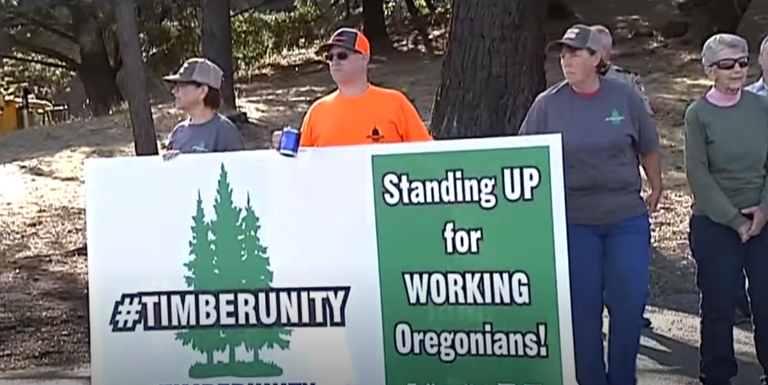Gov. Kate Brown traveled to a Swanson Group Mill in Roseburg. She was greeted by demonstrators from the group Timber Unity, who gathered outside the mill at 8 a.m. to wait for the governor. (SBG)