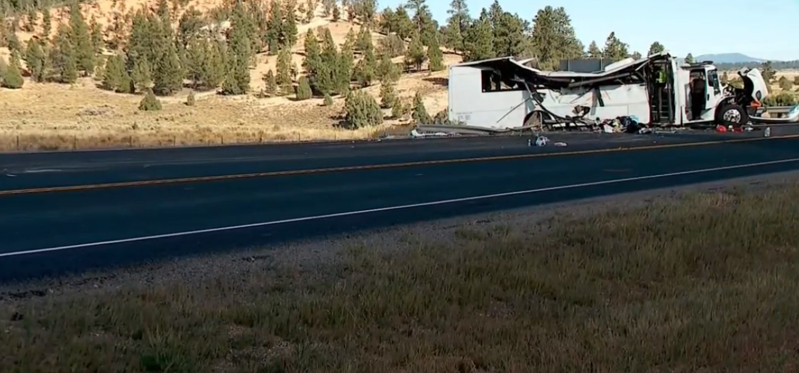 More than a dozen people remain hospitalized on Friday after a deadly tour bus crash in rural Utah. (Photo: KUTV)
