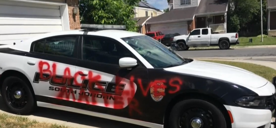 South Jordan officer finds 'Black lives matter' spray-painted on his police cruiser (Photo: KUTV)