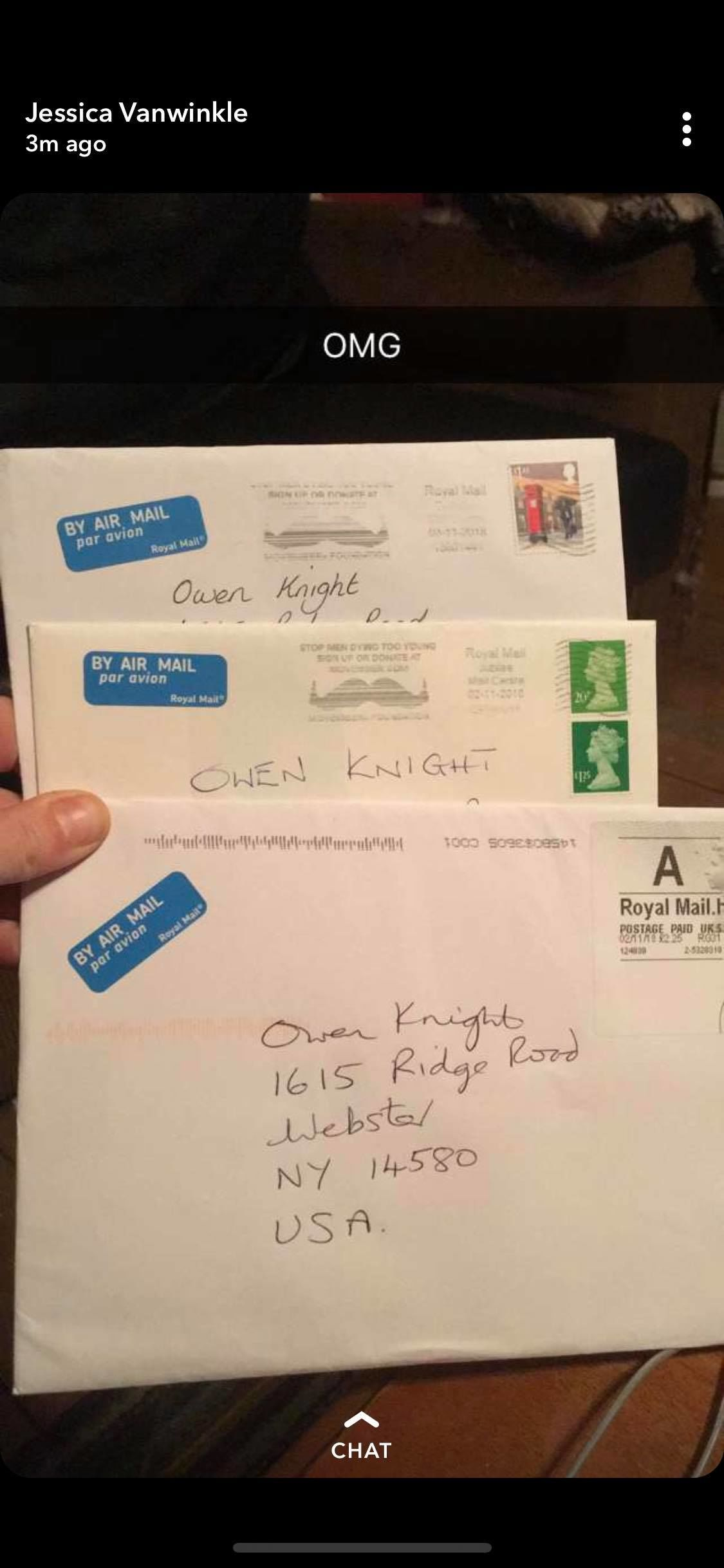 Mail from overseas arrived for Owen. (photo provided for WHAM)<p></p>