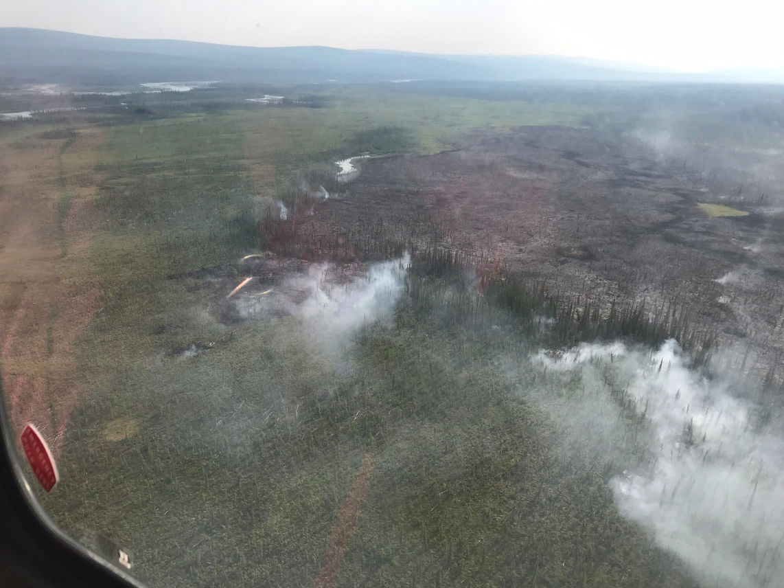 An aerial view of the burned land in Alaska. The Medford Crew 10 spent their two-week deployment in the Upper Yukon Zone. (Courtesy Medford Crew 10)