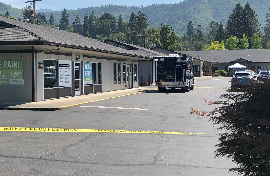 Pictured is part of the scene where an officer-involved shooting unfolded at the Oregon State Police offices in Grants Pass on Tuesday. (Carsyn Currier/News 10)
