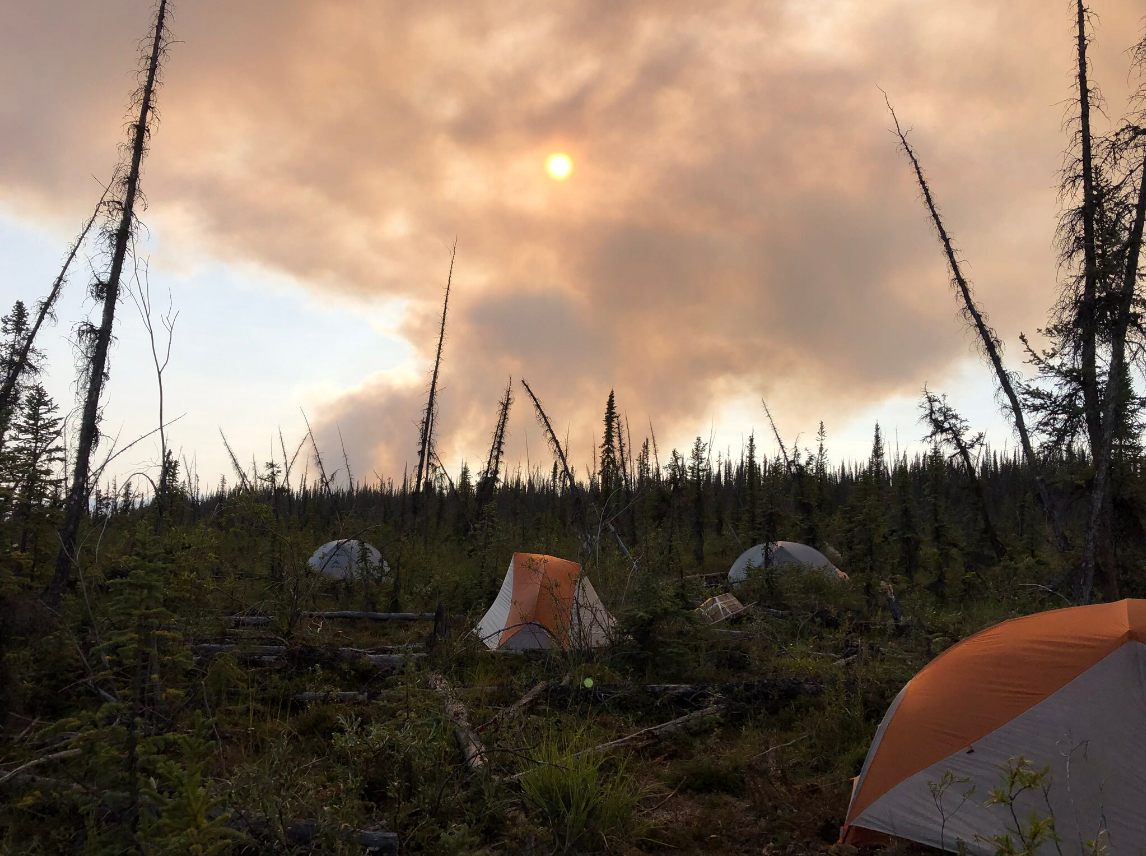 Pictured are the tents where firefighters are staying in the Upper Yukon Zone of Alaska while on a two-week deployment. (Courtesy Medford Crew 10){ }