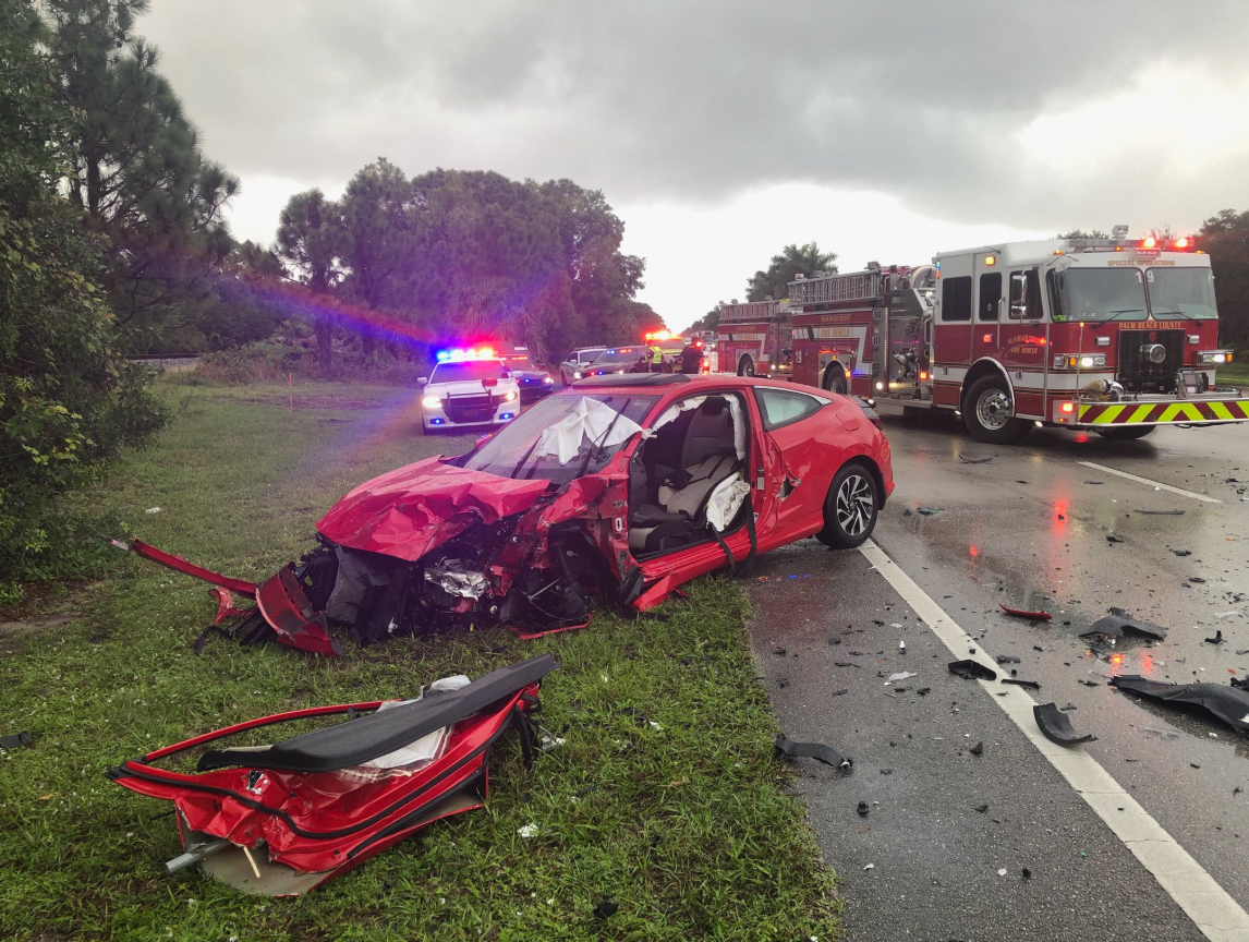 Four people were rushed to the hospital after a multi-vehicle crash. (Palm Beach County Fire Rescue)