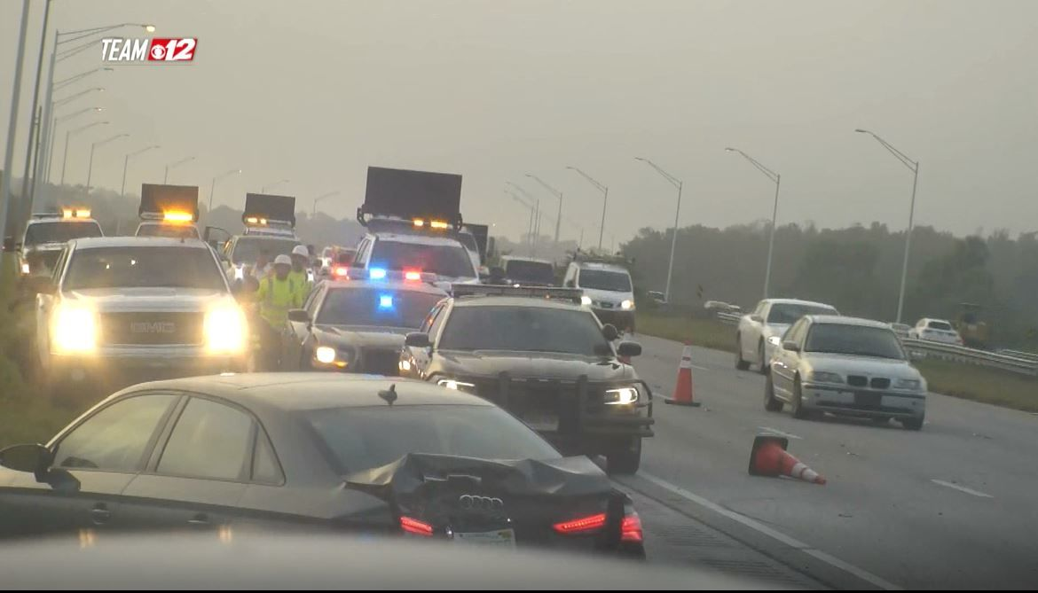 Trooper struck on I-95 while responding to crash near Hobe Sound. (WPEC)
