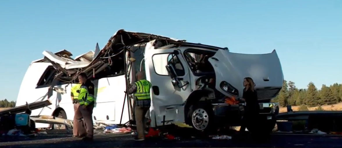 At least four are dead after a bus carrying 30 people crashed Friday morning near Bryce Canyon National Park. (Photo: KUTV)