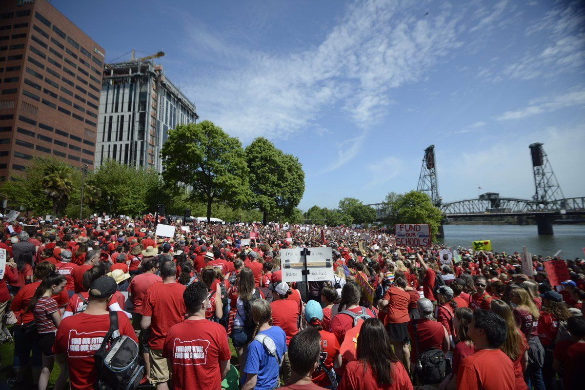 Thousands of teachers, students, parents and staff members took to the streets Wednesday, calling for more funding for education in Oregon. One of the teacher walkout rallies was held in Waterfront Park, followed by a march through downtown Portland. (Photo by Tristan Fortsch, KATU News on May 8, 2019)