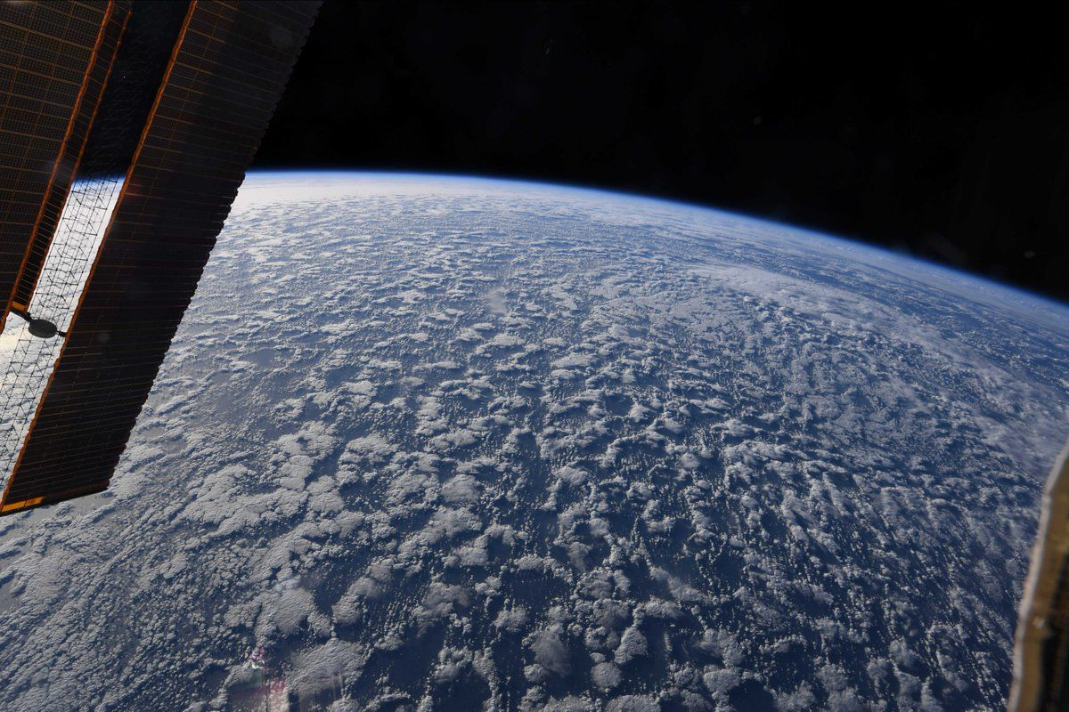 I like the delicate texture of these clouds over the Pacific. Quiet ride. (Photo & Caption David Saint-Jacques, NASA)