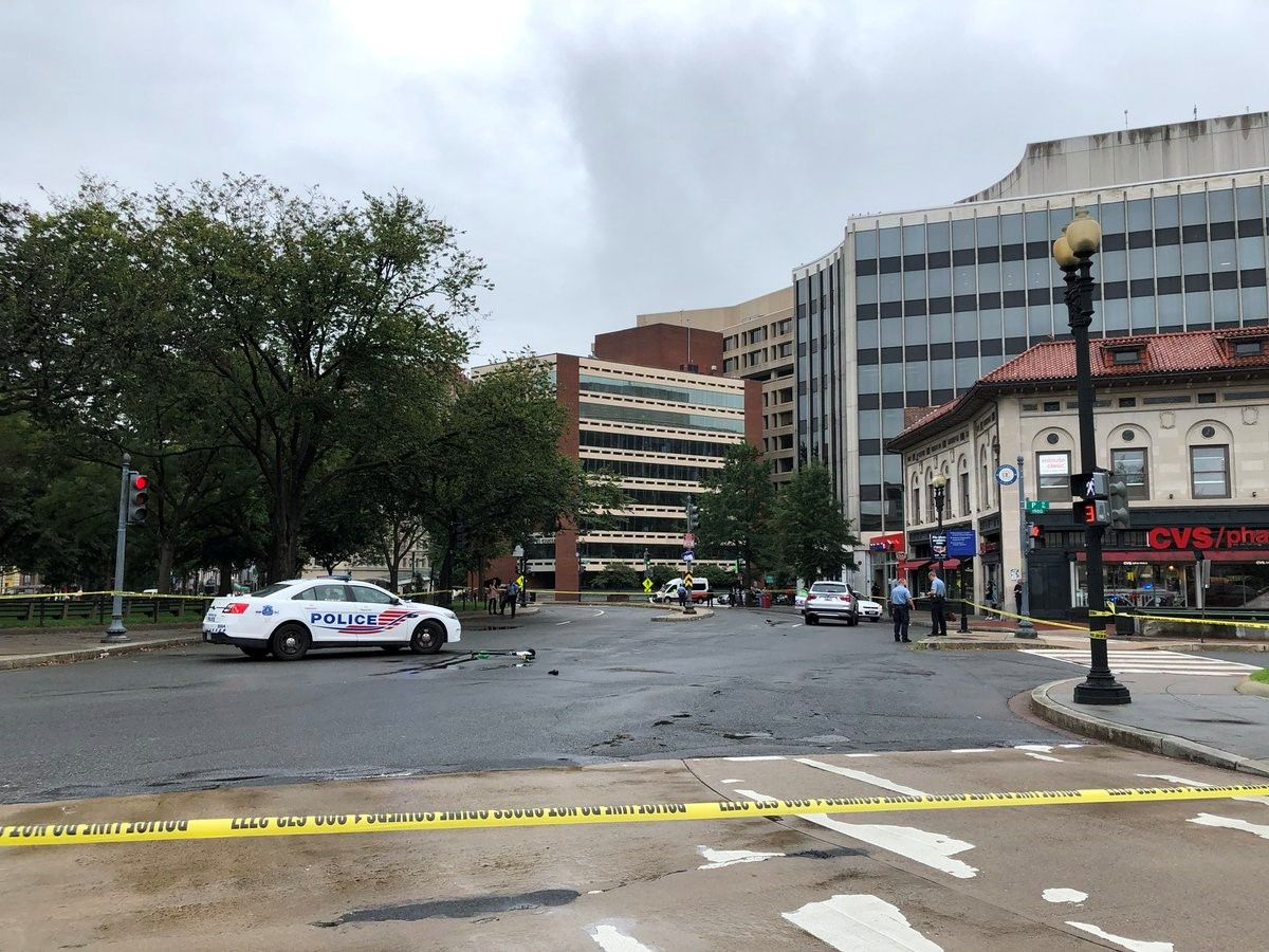A man on a scooter was seriously injured after being hit by an SUV in Dupont Circle. Friday, Sept. 21, 2018.{&nbsp;}(Eric James, via Twitter: @efwjames){&nbsp;}<p></p>