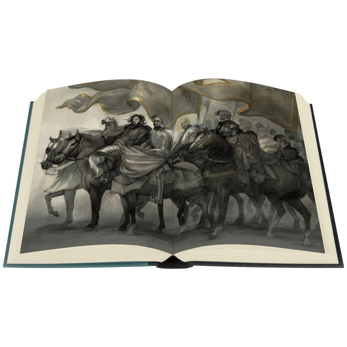 <p>Award-winning illustrator Jonathan Burton's glorious colour illustrations take the reader deeper into the realms of Westeros than ever before. Lavish binding designs are blocked with striking images of wolves, stags and lions, against shimmering gold and silver landscapes. (Photo: The Folio Society)<br></p><p></p>