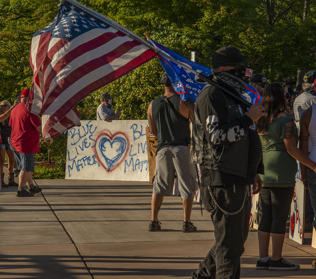 About 250 people gathered at the Springfield, Oregon, library for what was billed as an All Lives Matter rally Friday at 7 p.m. About a dozen counter protesters also attended. The event was mostly peaceful, although a couple of minor scuffles broke out and one man was taken into custody by the Springfield police. By 9:30 p.m. both the protesters and the counter protesters dispersed. Photo by Jeremy Williams