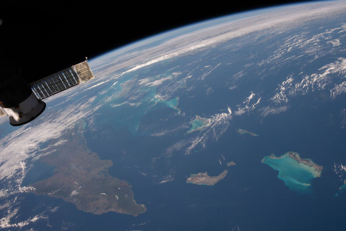 My first sight of the surreal colours of the Caribbean  ?  took my breath away.  (Photo & Caption David Saint-Jacques, NASA)