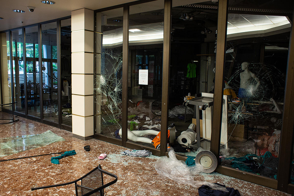 BELLEVUE, WA - MAY 31: An store in Bellevue Square Mall is seen after looting took place on May 31, 2020 in Bellevue, Washington. Protests due to the recent death of George Floyd took place in Bellevue in addition to Seattle, with looting in Bellevue and at least one burned automobile there. (Photo by David Ryder/Getty Images)