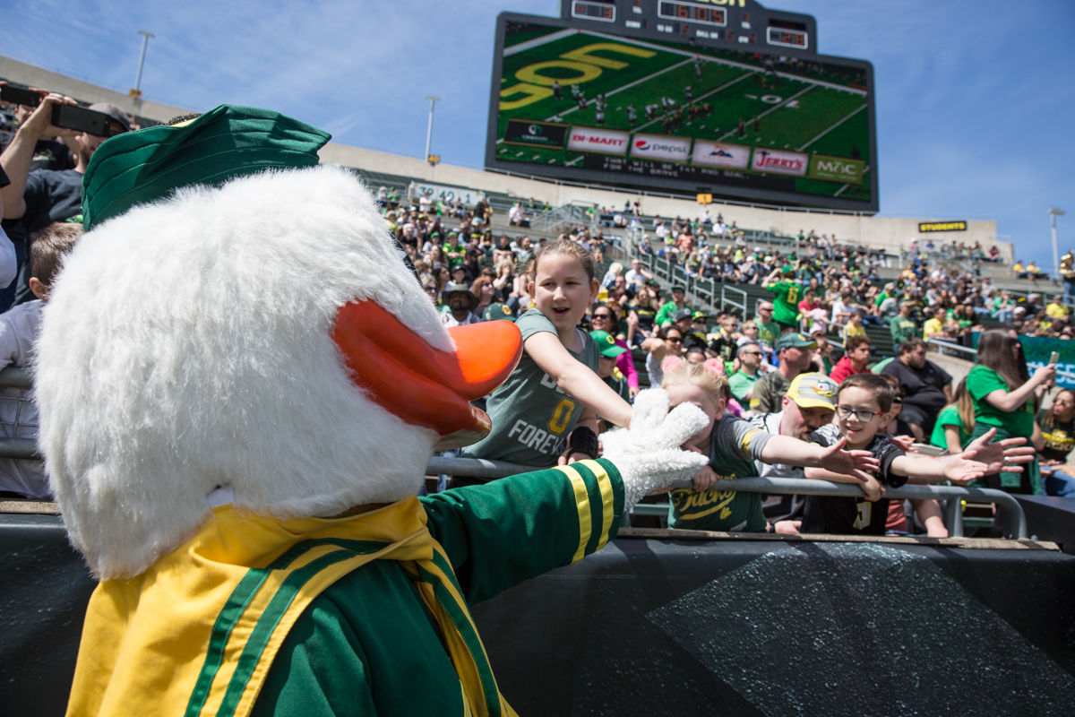 The Oregon Duck visits with young fans during the 2017 Spring Game. The 2017 Oregon Ducks Spring Game provided fans their first look at the team under new Head Coach Willie Taggart's direction.  Team Free defeated Team Brave 34-11 on a sunny day at Autzen Stadium in Eugene, Oregon.  Photo by Austin Hicks, Oregon News Lab