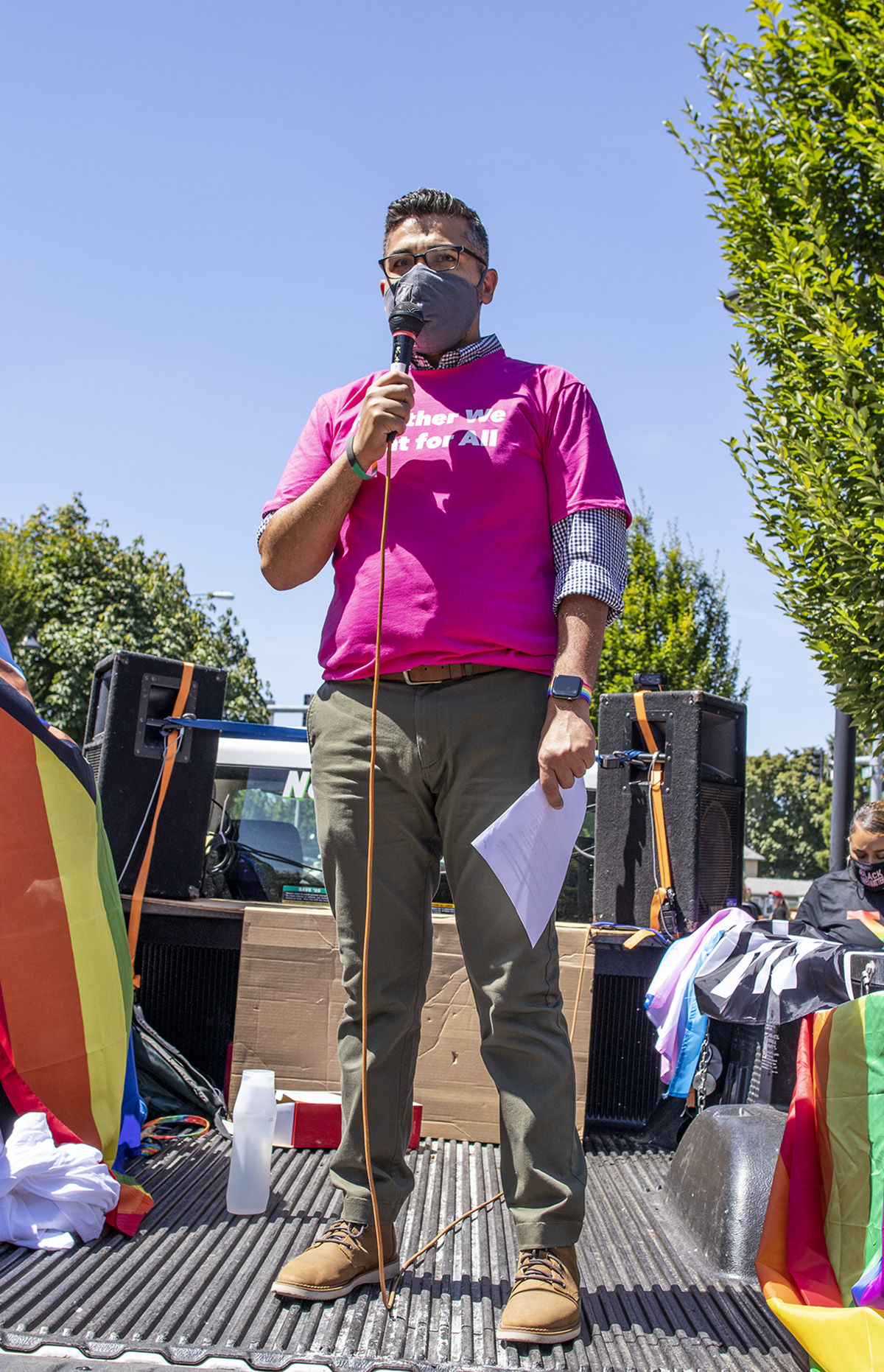 Planned Parenthood Coordinator Omar Al Rais speaking to demonstrators in front of the courthouse. Approximately 200 people gathered in front of the federal courthouse at noon in Eugene, Oregon, on Saturday to celebrate and march for Black Trans Lives. The march, organized by local groups Black Unity and Eugene Pride, made its way through the streets of Eugene until arriving at Kiwanis/Skinner Butte Park. Once at the park marchers stopped to enjoy food, music and demonstrations held by the march organizers. Photo by Payton Bruni