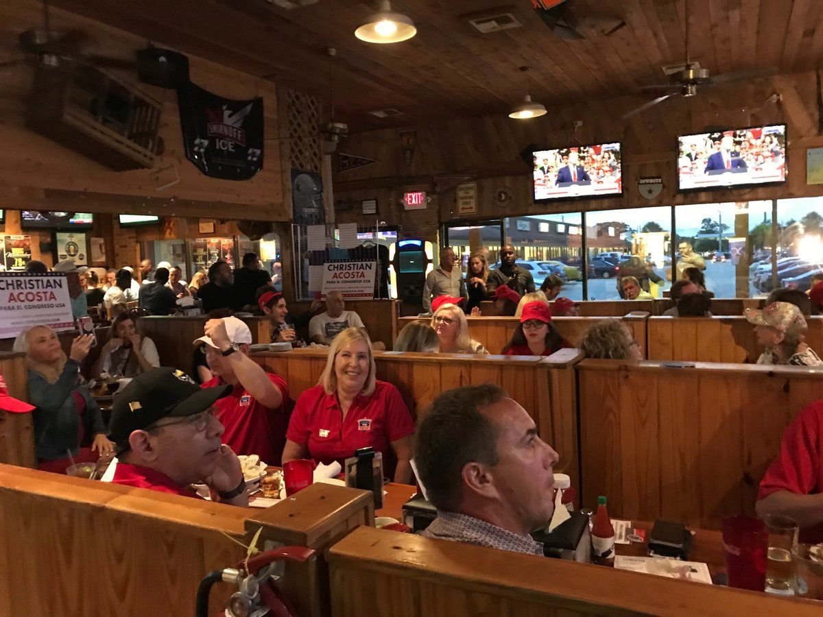 Crowd at Trump watch Party not worried about poll numbers( WPEC)<p></p>